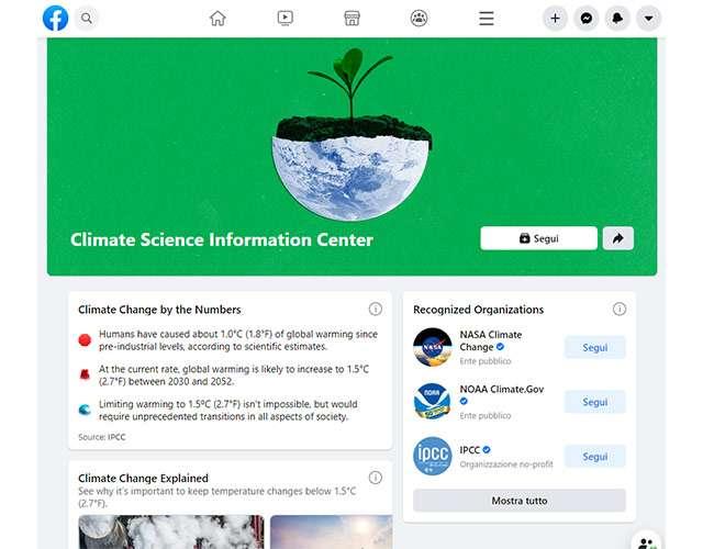 Il Climate Science Information Center di Facebook
