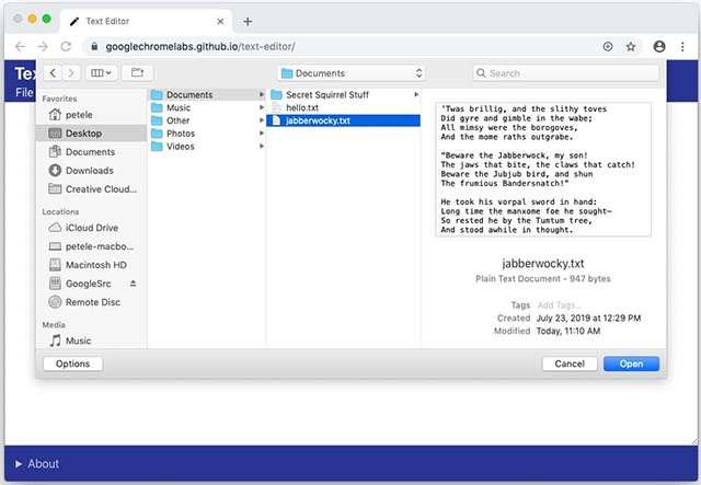 La Native File System API in Chrome
