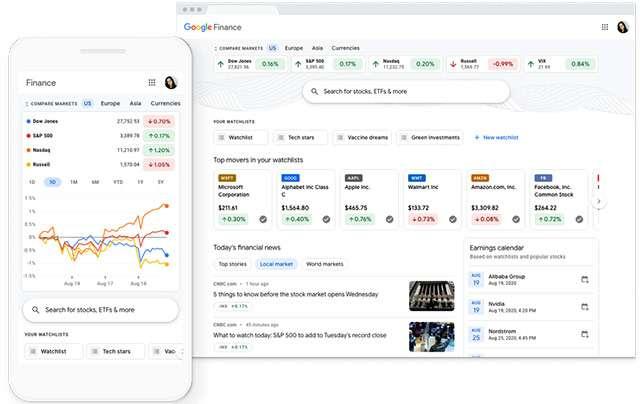 L'interfaccia del nuovo Google Finance, nei browser desktop e sui dispositivi mobile