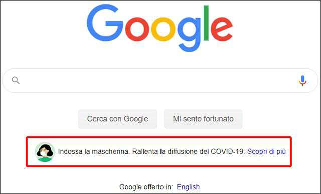 Sulla homepage di Google un messaggio che invita a usare la mascherina