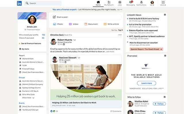 Il nuovo layout di LinkedIn introdotto con il restyling