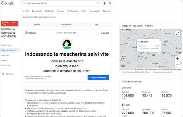 Le raccomandazioni di Google su mascherina e COVID-19