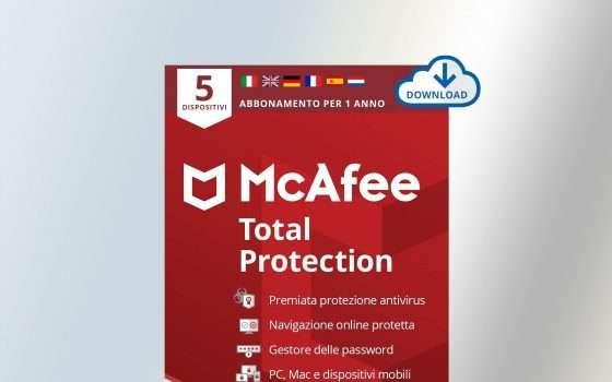 Antivirus McAfee, solo oggi in sconto fino a -67%