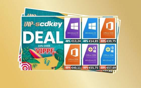 Miglior prezzo VIP-SCDkey: Windows 10 PRO €13, Office 2016 €39