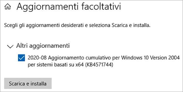 Windows 10 KB4571744: l'aggiornamento facoltativo è disponibile per il download