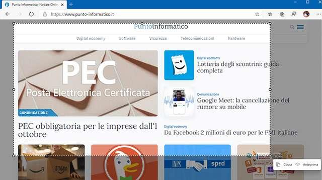 Microsoft Edge: la funzionalità Web Capture per catturare screenshot durante la navigazione