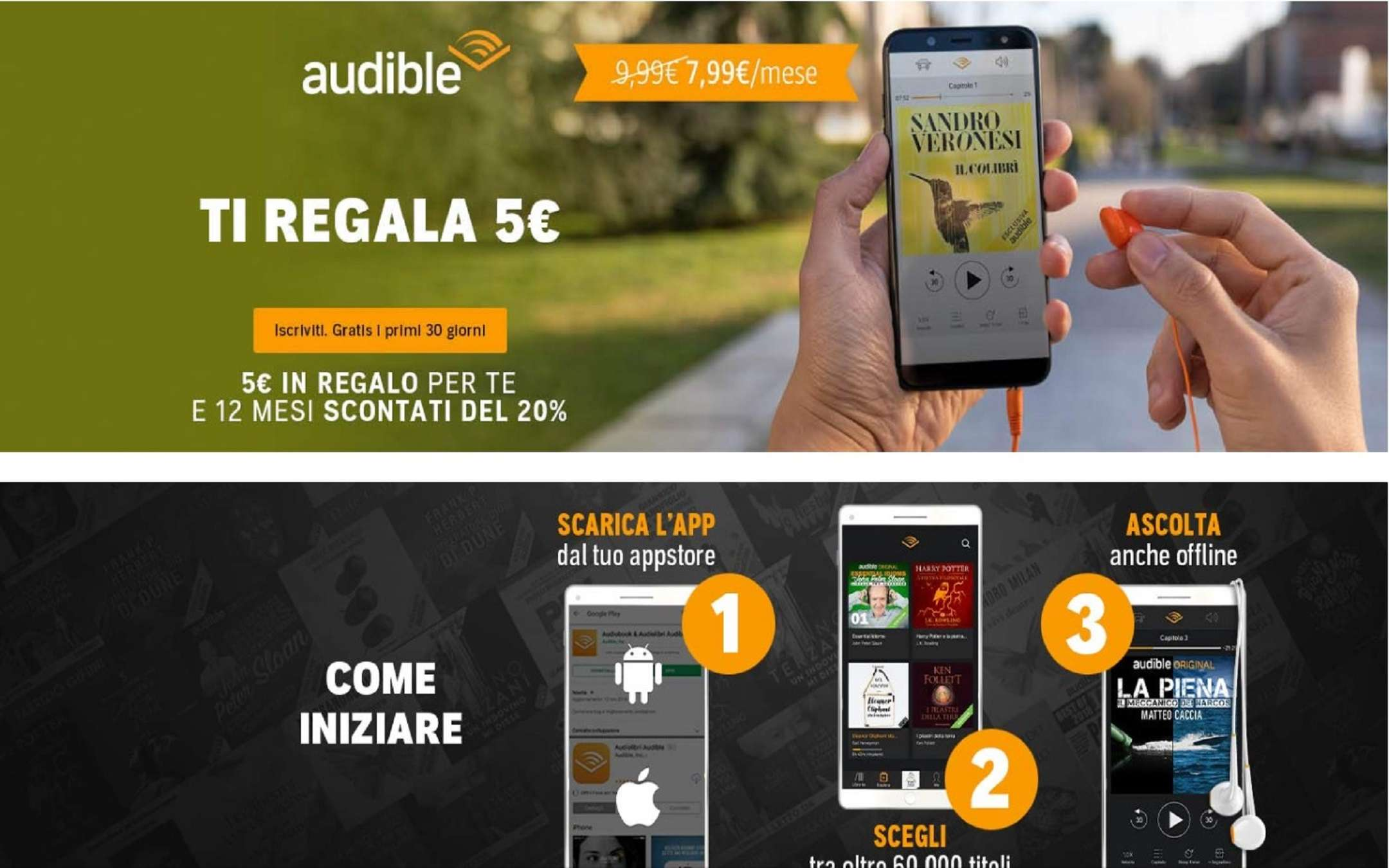 Audible gives a 5 euro discount voucher to new members