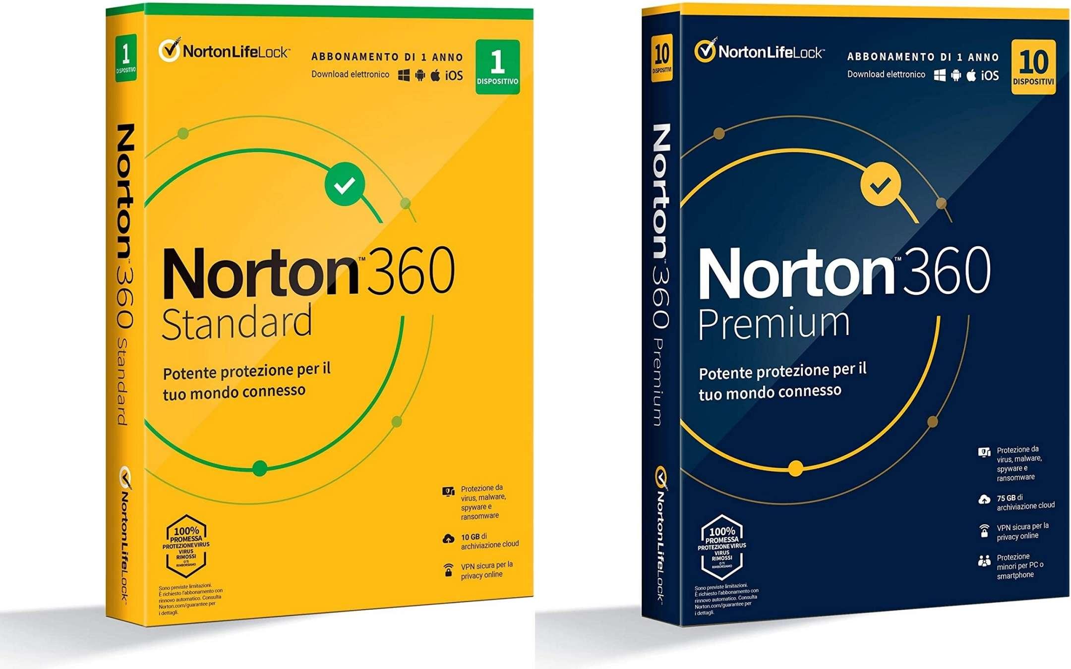 Norton 360 Standard and Premium on offer on Amazon