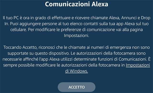 Alexa su Windows 10: screenshot