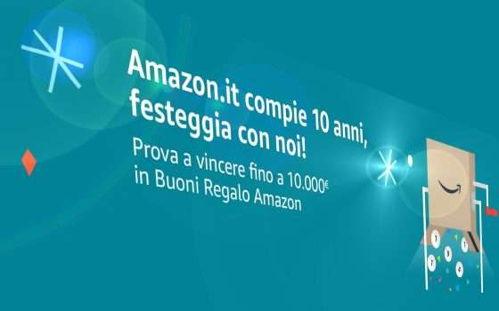 10 anni di Amazon.it, fino a 10 mila euro in regalo