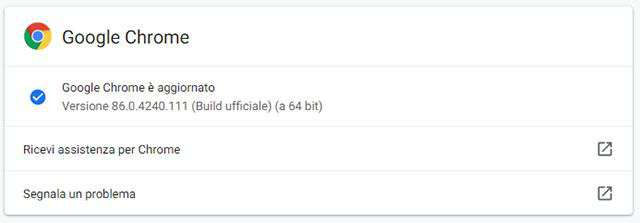 Il browser Chrome di Google aggiornato alla versione 86.0.4240.111