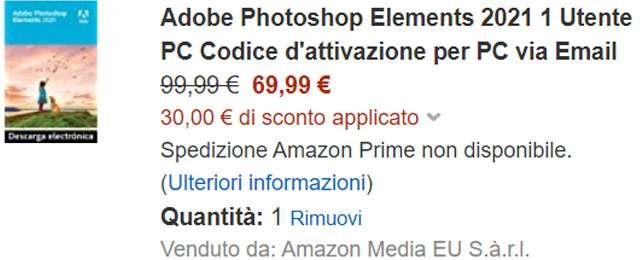 Adobe Photoshop Elements 2021 in sconto per i clienti Amazon Prime