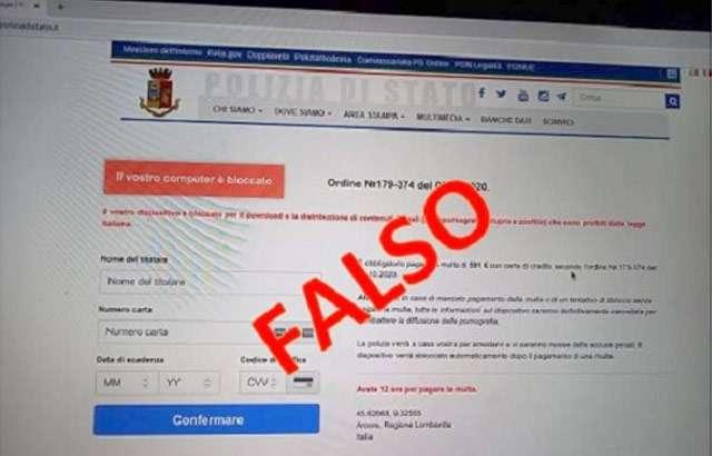 Un'immagine del falso sito della Polizia di Stato avvistato online