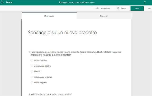 Microsoft Forms: la creazione di un sondaggio