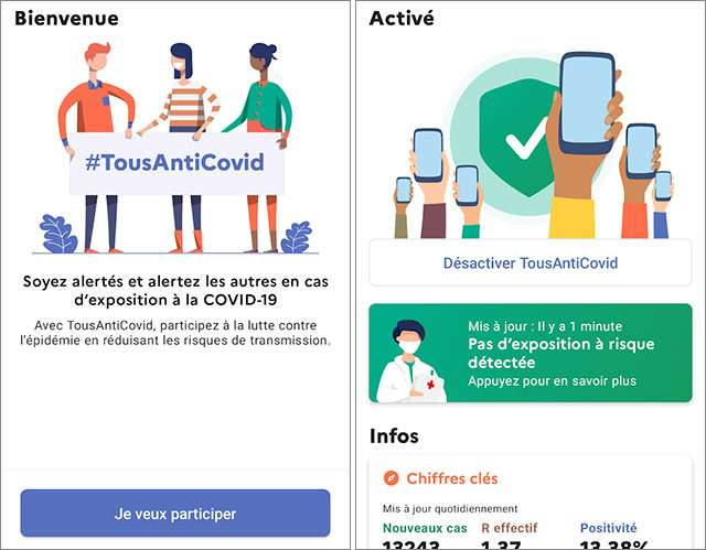 Screenshot per l'applicazione francese TousAntiCovid dedicata al contact tracing