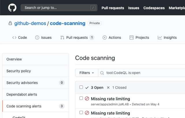 Il Code Scanning di GitHub