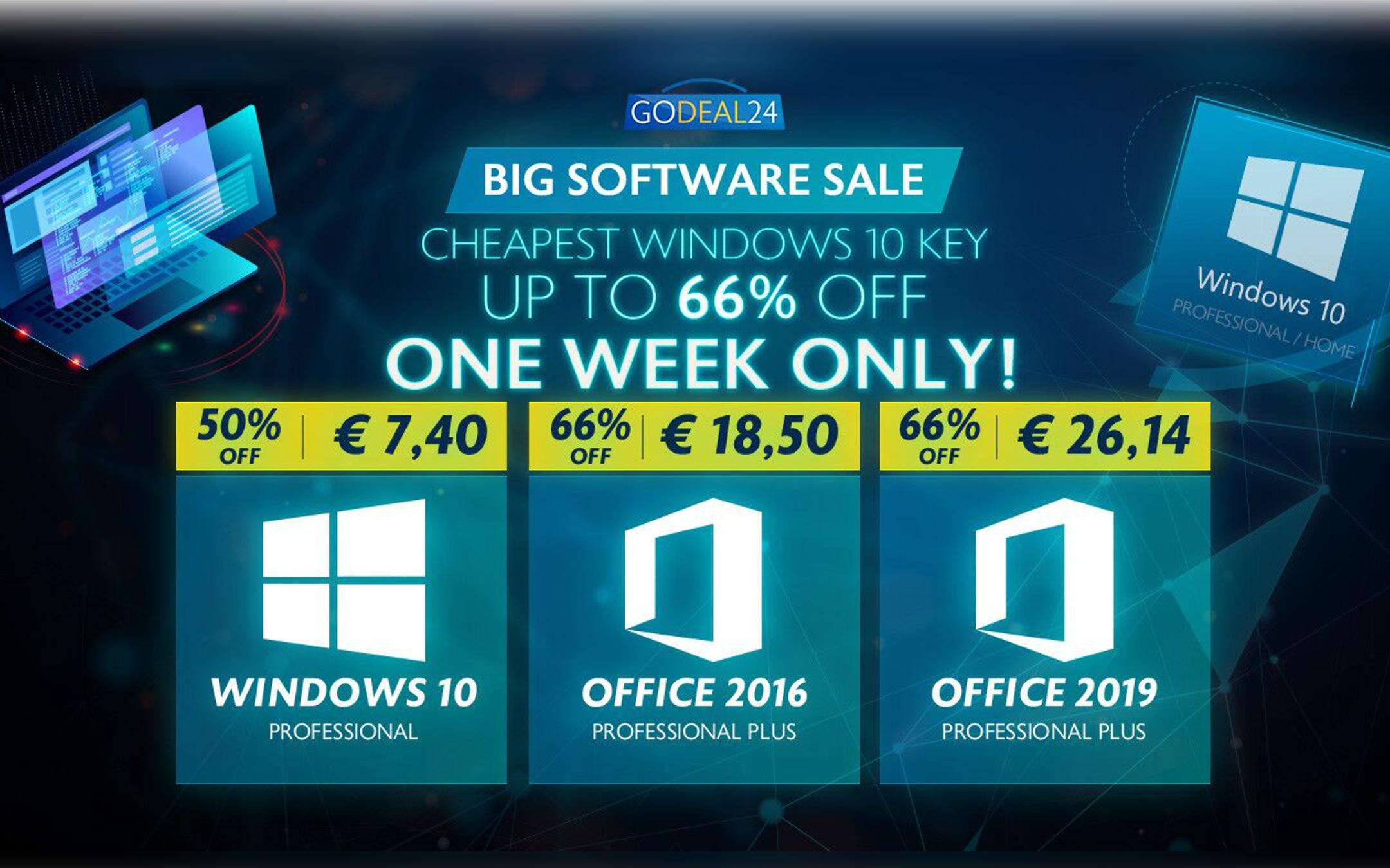 Lightning offer: Windows 10 for € 7 and Office for € 18 on GoDeal24