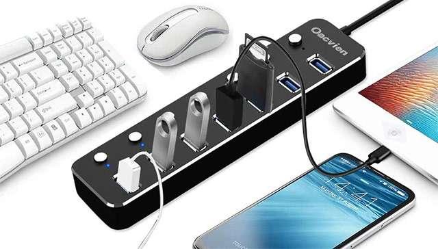 Lo hub USB 3.0 con sette porte di Oacvien