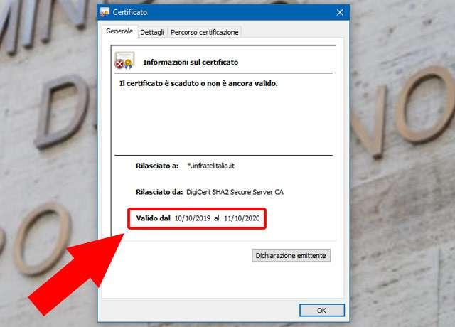 Infratel: certificato scaduto sul sito
