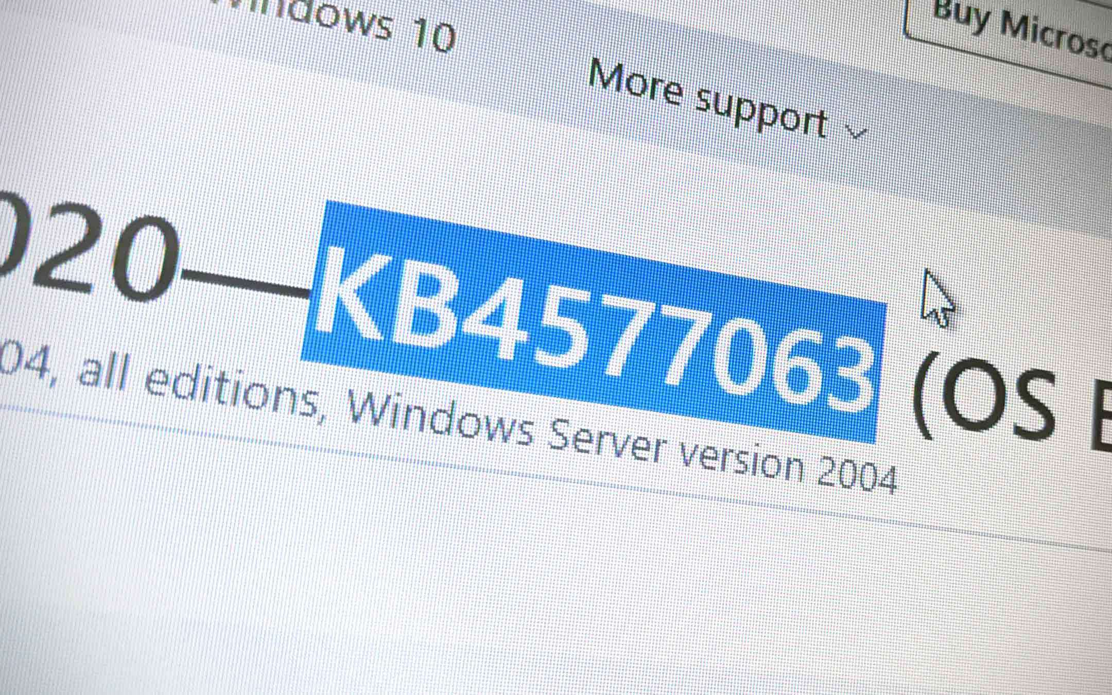 Windows 10: there is KB4577063 for the May 2020 Update