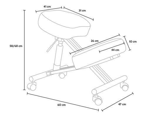 Misure della seduta ergonomica svedese BalanceSteel Lux
