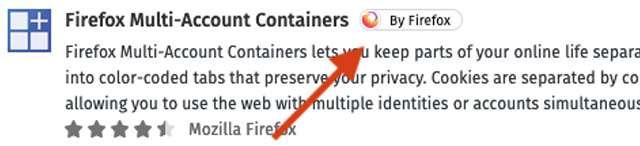 Il badge By Firefox per le estensioni del browser
