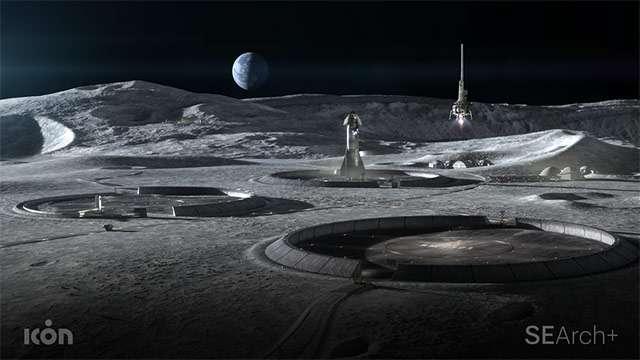 Il concept di una base lunare realizzata con una tecnica di stampa 3D