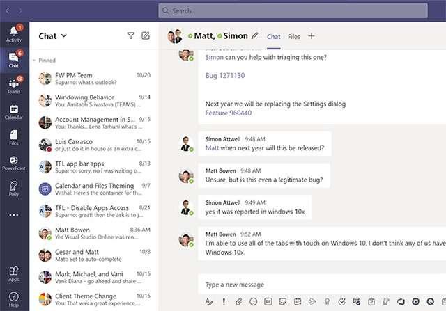 L'attuale interfaccia di Microsoft Teams