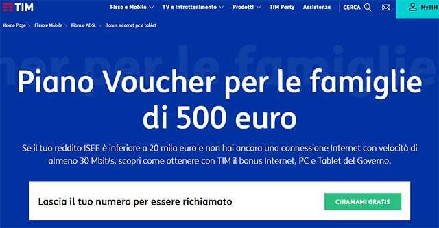 La pagina di TIM dedicata al Bonus 500 euro