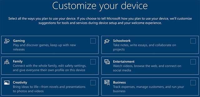 Windows 10: la schermata per la personalizzazione del sistema operativo mostrata durante il setup