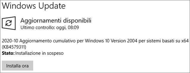 Il Patch Tuesday di ottobre 2020 per Windows 10