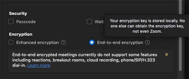 Zoom: l'opzione per la crittografia end-to-end