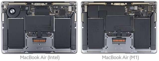 Il MacBook Air con processore Intel e quello con Apple M1 a confronto