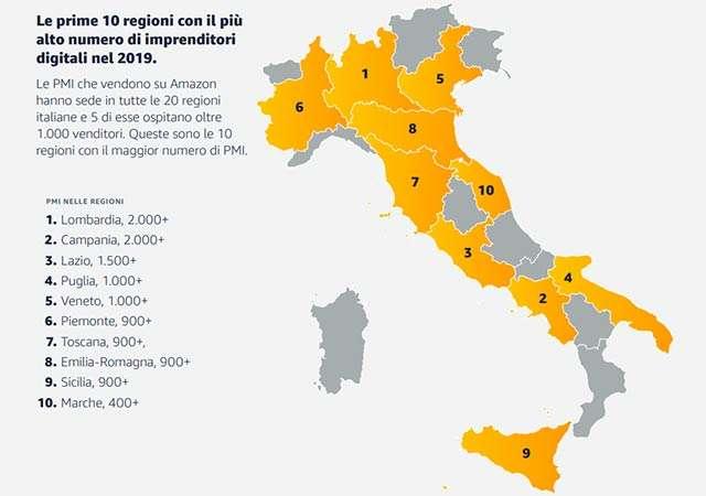 La diffusione sul territorio italiano delle PMI presenti su Amazon