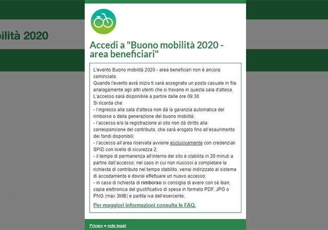Buono Mobilità: il messaggio in homepage