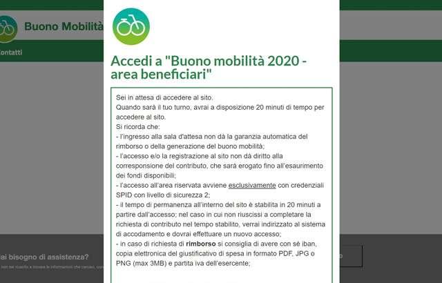 L'accesso all'area beneficiari del sito per il Buono Mobilità 2020