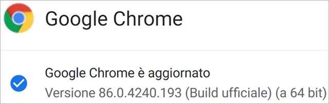 La versione desktop di Google Chrome si è aggiornata alla 86.0.4240.193