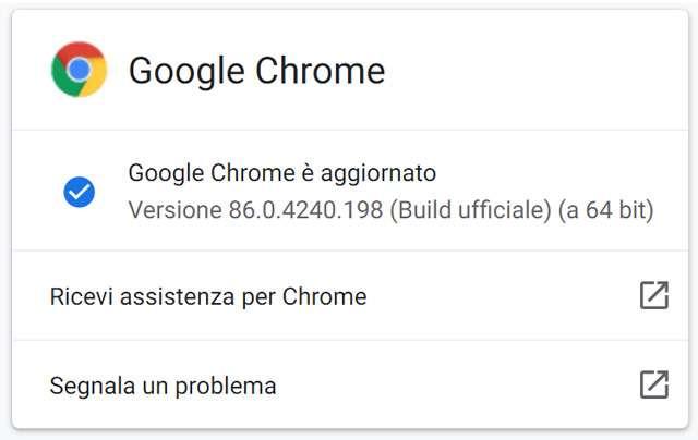 Il browser Google Chrome si è aggiornato alla versione 86.0.4240.198 su piattaforme desktop