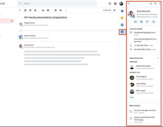 I dettagli dei contatti in Gmail