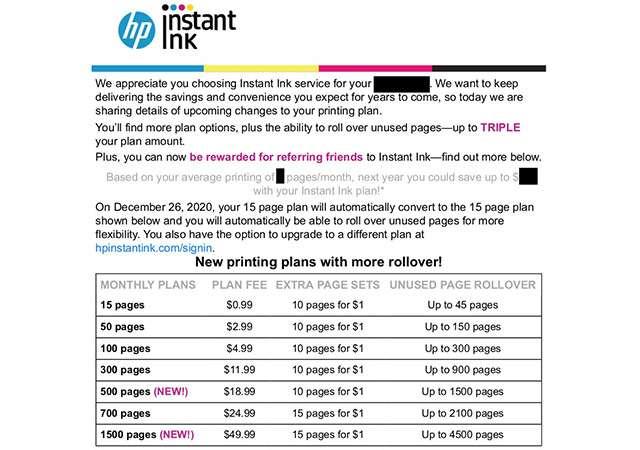 L'email inviata da HP agli abbonati del servizio Instant Ink