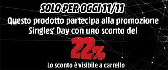 Lo sconto del 22% sui prodotti del catalogo Mediaworld per il Singles' Day