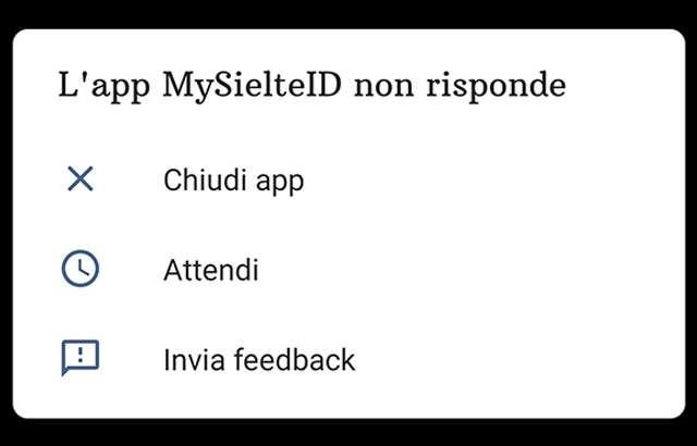 L'applicazione MySielteID si arresta in modo anomalo