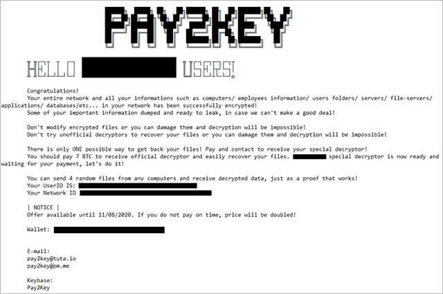 Il messaggio mostrato dal ransomware Pay2Key in seguito a un attacco