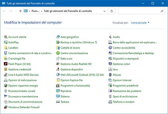 Il Pannello di Controllo in Windows 10