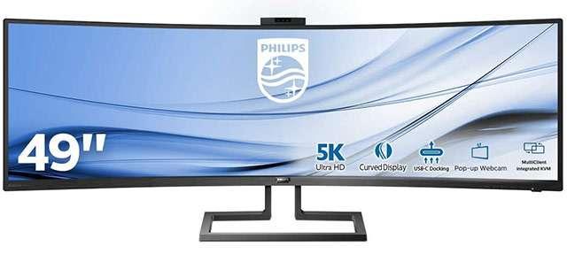 Il monitor Philips 499P9H da 49 pollici con pannello 5K curvo