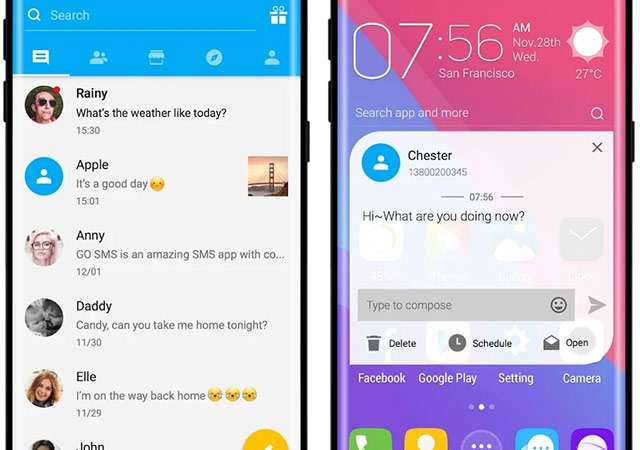 Screenshot per l'applicazione Go SMS Pro