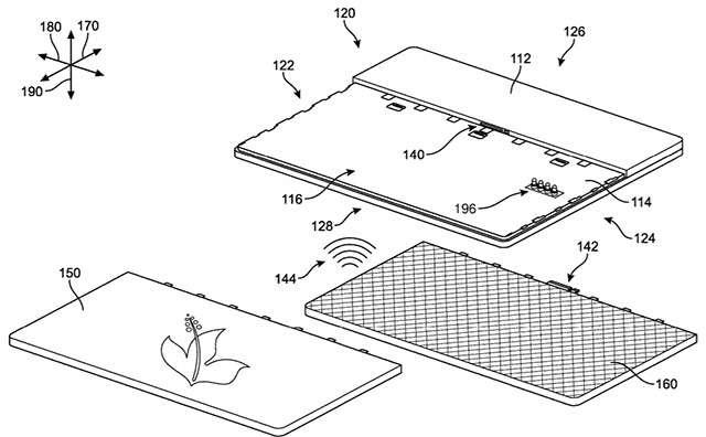 Un'immagine del brevetto Microsoft per un dispositivo Surface modulare