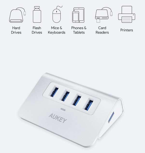 HUB USB 3.0 Aukey Alluminio - 1