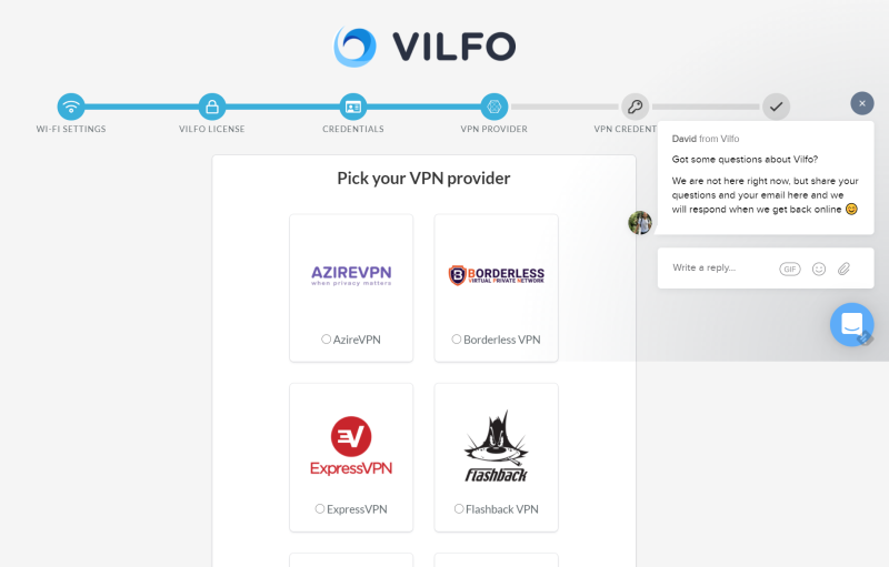 Scelta provider VPN Vilfo