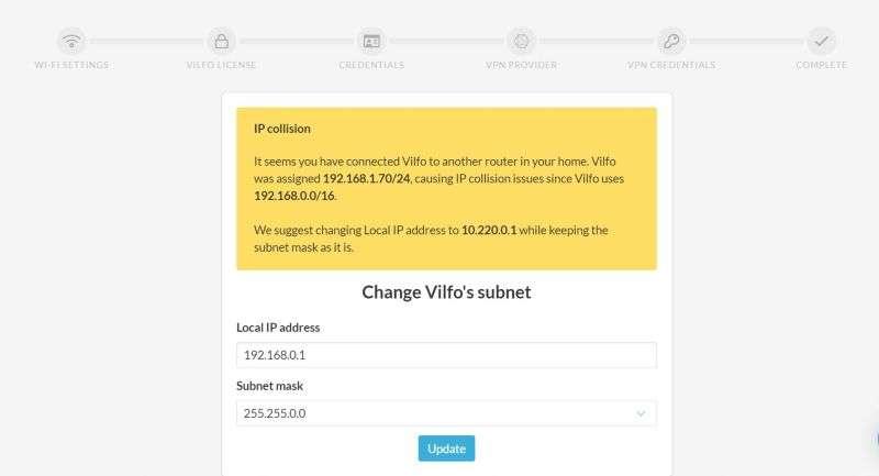 Vilfo router IP collision